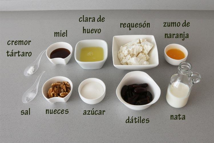 Ingredientes para hacer mousse de requesón con miel, dátiles y nueces