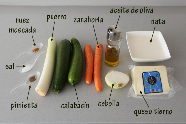 Ingredientes para hacer una quiche de verduras y queso tierno