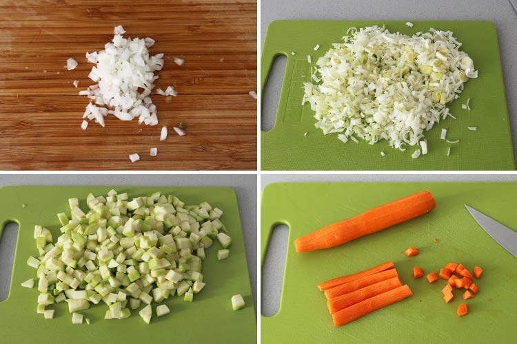 Trocear las verduras de la quiche