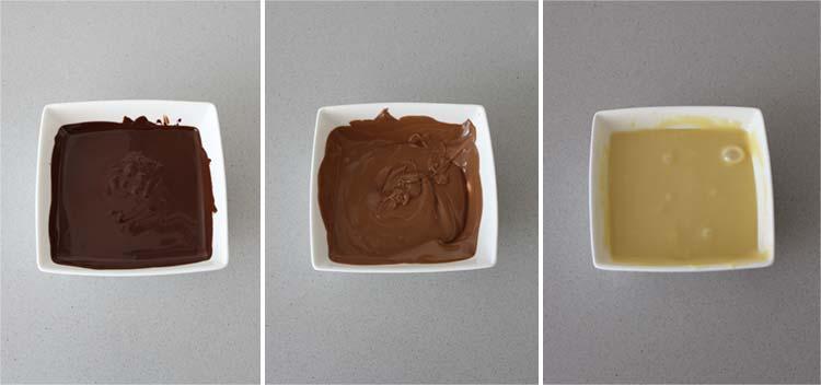 Derretir los tres tipos de chocolate