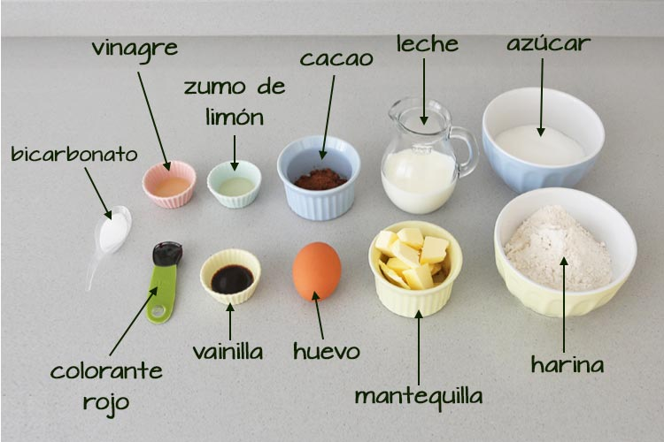 Ingredientes cupcakes red velvet