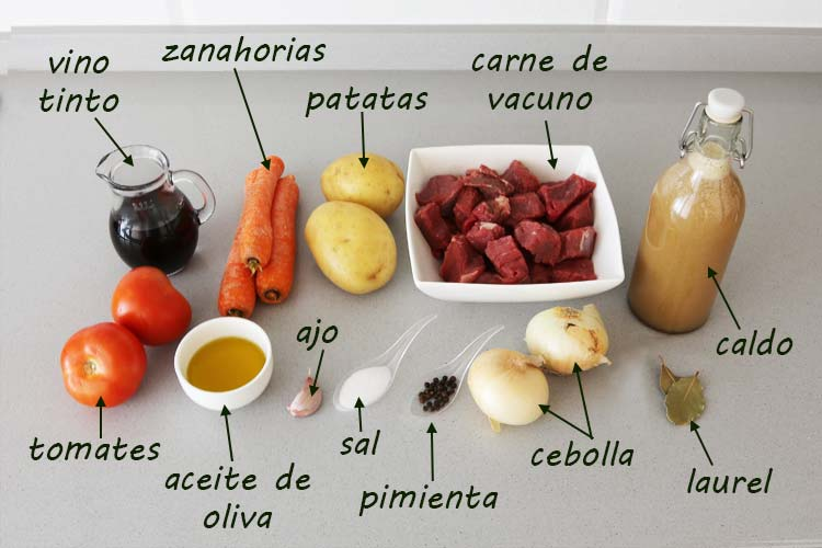 Ingredientes para hacer guiso de carne con patatas