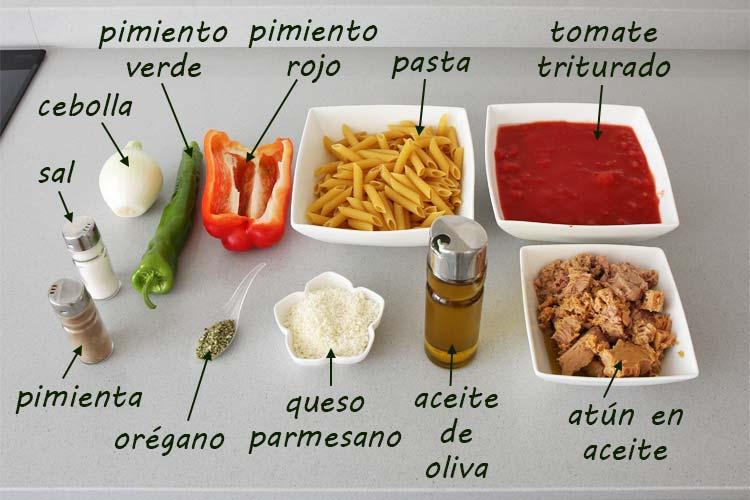 Ingredientes para hacer macarrones con atún