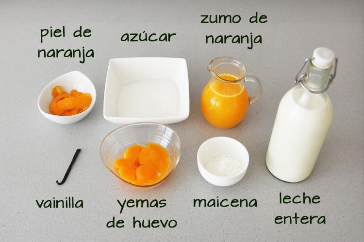 Ingredientes para hacer natillas de naranja