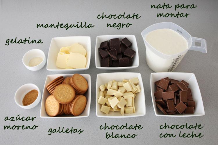 Ingredientes para hacer tarta de tres chocolates