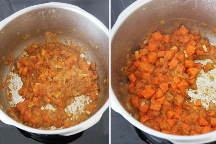 Incorporar el tomate y la zanahoria y rehogar