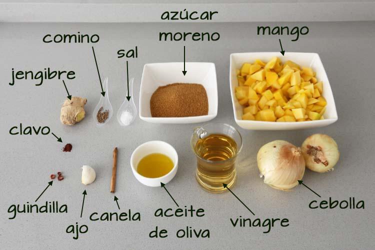 Ingredientes para el chutney de mango