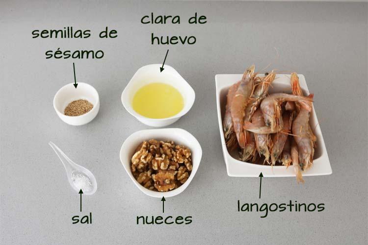 Ingredientes para los langostinos crujientes con nueces