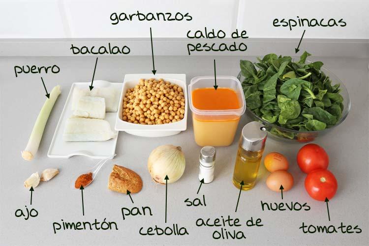 Ingredientes para hacer potaje de vigilia