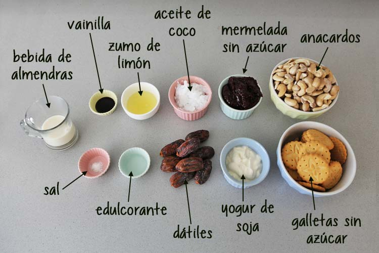 Ingredientes cheesecake sin azúcar y saludable
