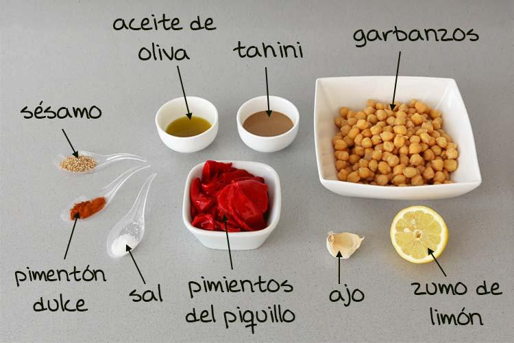 Ingredientes para hacer hummus de pimientos de piquillo