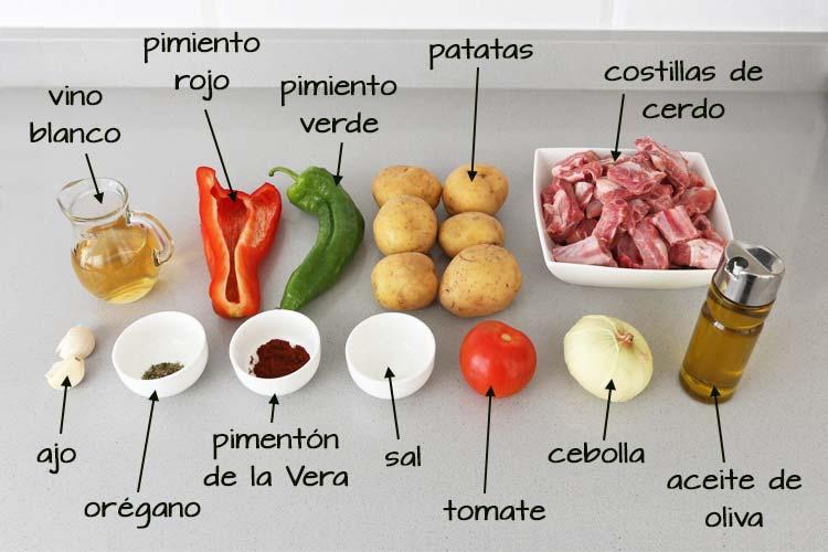 Ingredientes para hacer patatas con costillas