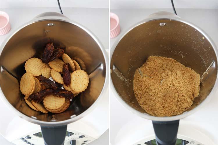 Triturar las galletas y los dátiles