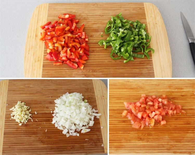 Trocear las hortalizas del guiso de patatas con costillas