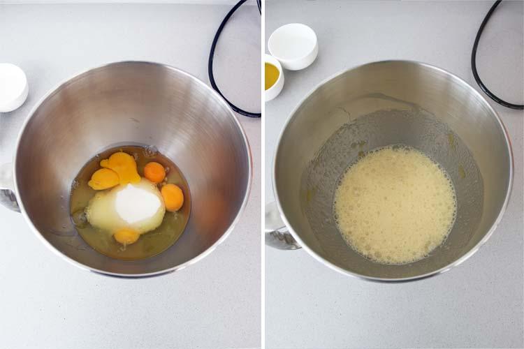 Batir los huevos y el azúcar