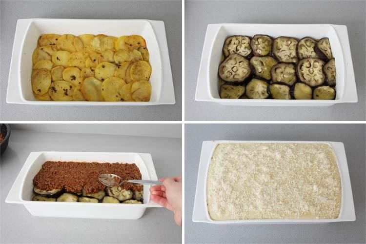 Colocar las patatas, las berenjenas, la carne y la bechamel en forma de capas