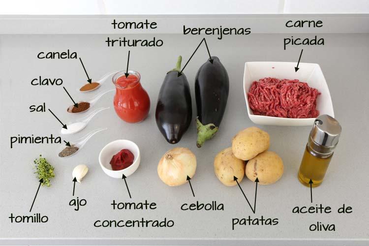 Ingredientes para hacer moussaka