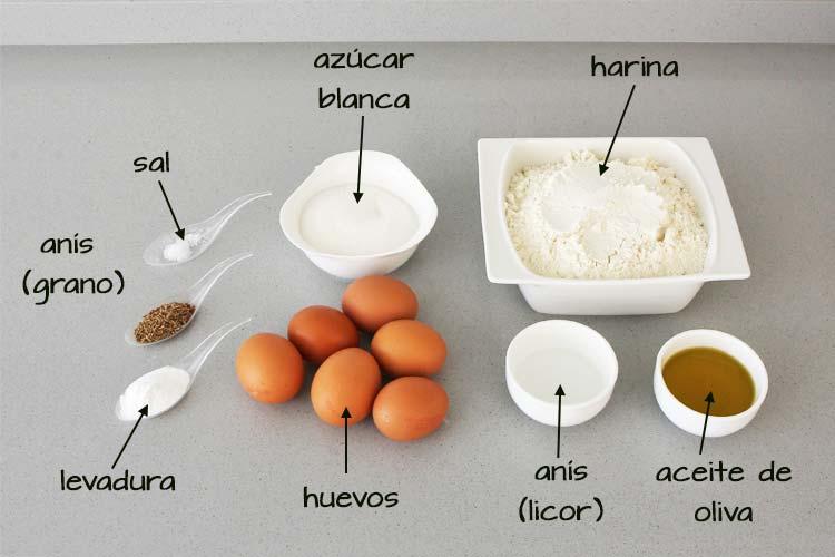 Ingredientes para hacer rosquillas del Santo