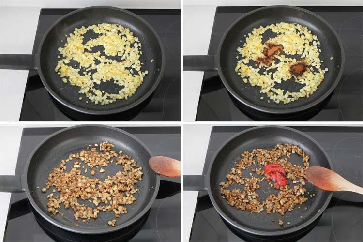 Hacer el sofrito con la cebolla, el ajo, las especias y el tomate concentrado