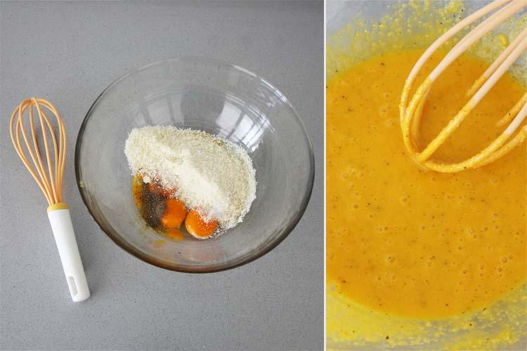 Mezclar las yemas de huevo, el pecorino y la pimienta negra