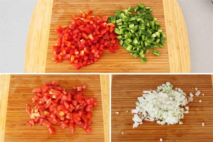 Cortar las verduras del empedrado de alubias