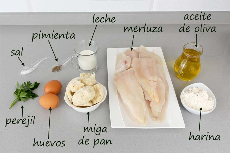Ingredientes para hacer albóndigas de merluza