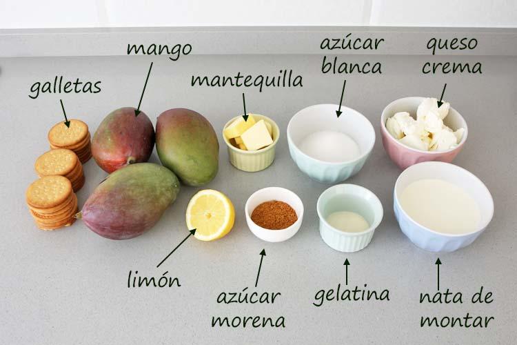 Ingredientes para hacer cheesecake de mango