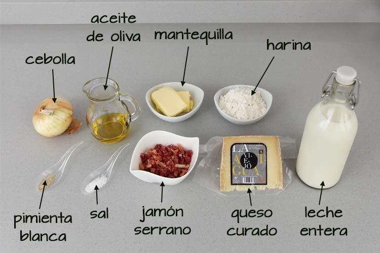 Ingredientes para hacer croquetas de queso curado y jamón