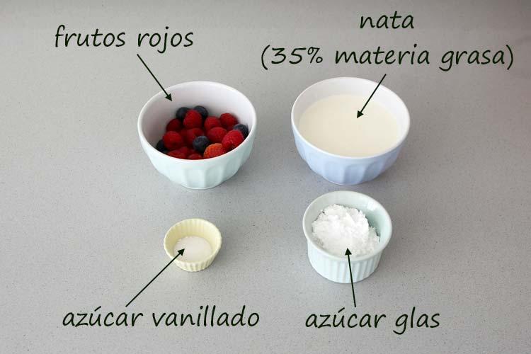 Ingredientes para decorar el pastel tres leches