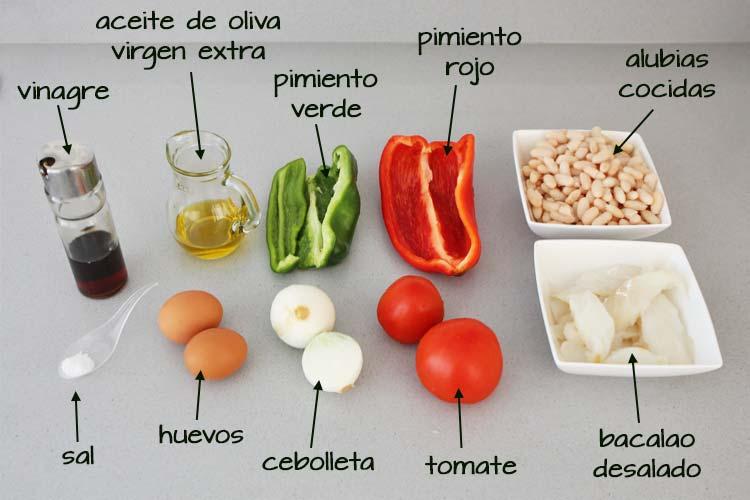 Ingredientes empedrado de alubias y bacalao