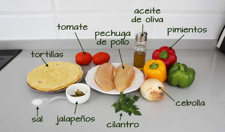 Ingredientes para hacer fajitas de pollo