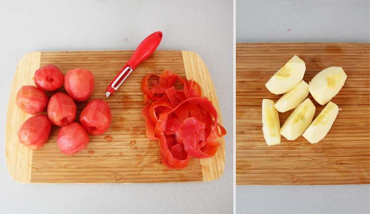 Pelar los tomates y cortar la manzana