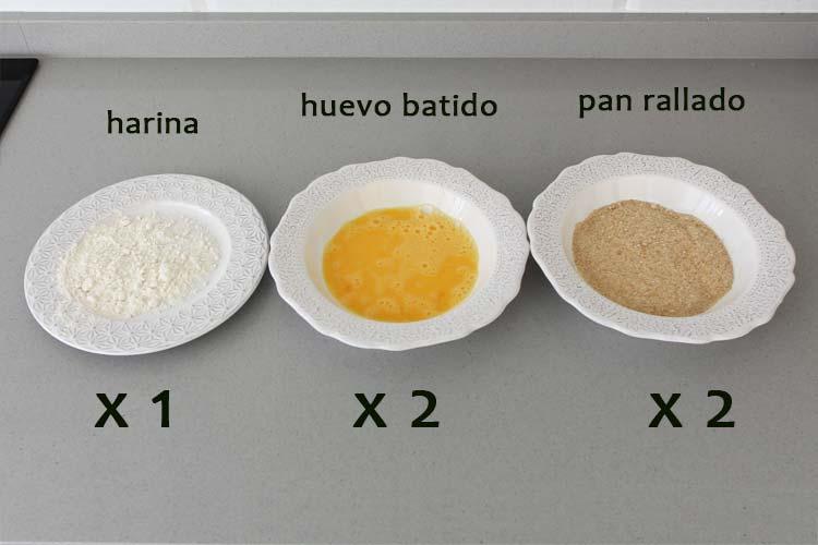 Ingredientes para rebozar las croquetas