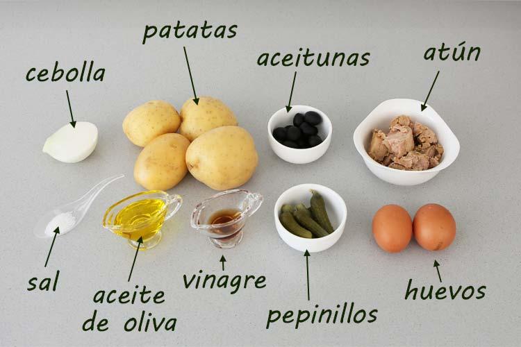 Ingredientes para hacer ensalada de patata y atún
