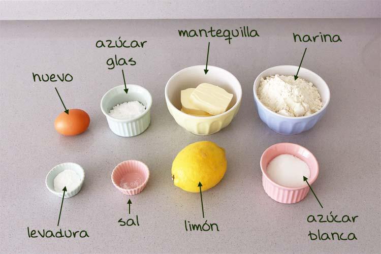 Ingredientes para hacer galletas de limón caseras