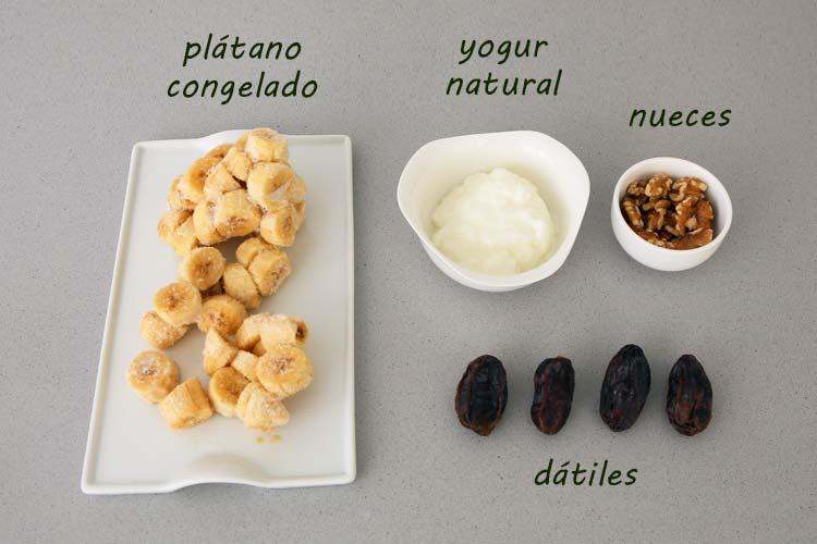 Ingredientes para hacer helado de plátano saludable