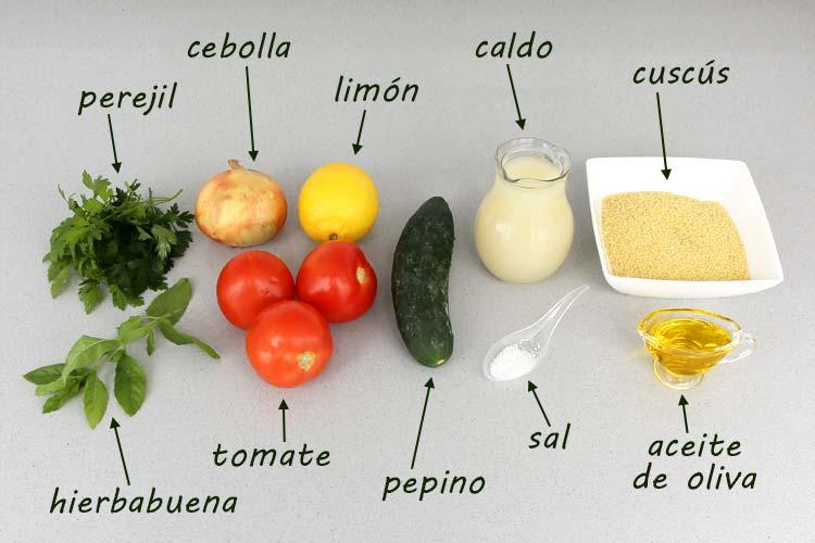 Ingredientes para hacer tabulé