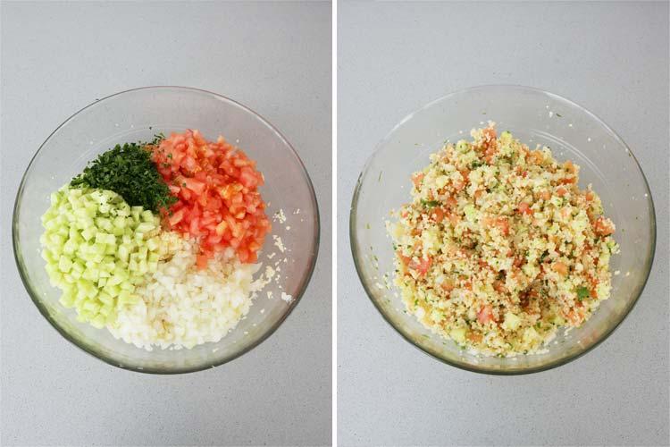 Mezclar los ingredientes del tabulé