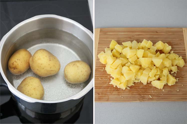 Cocer las patatas, pelarlas y cortarlas en dados