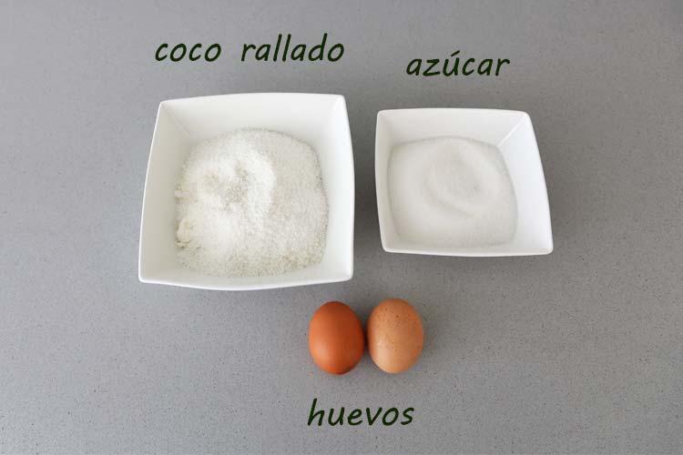 Ingredientes para hacer coquitos
