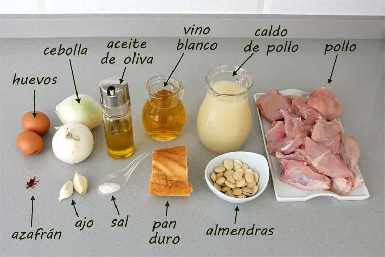 Ingredientes para hacer pollo en pepitoria