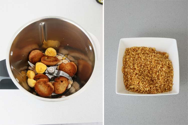 Picar las yemas de huevo cocido, las almendras tostadas y los trozos de pan frito