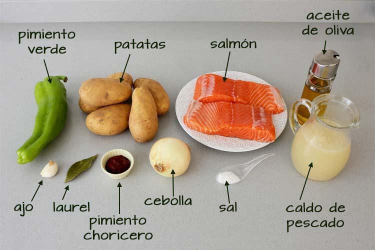 Ingredientes para hacer marmitako de salmón