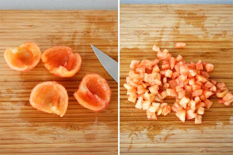 Cortar el tomate para hacer guacamole