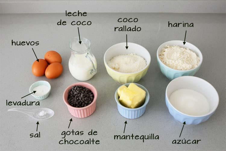 Ingredientes para hacer bizcocho de coco y chips de chocolate