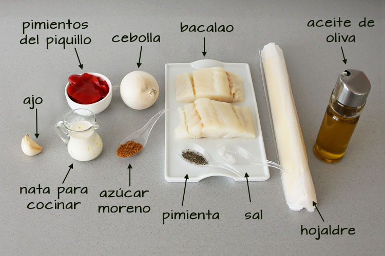 Ingredientes para hacer canapés de brandada de bacalao
