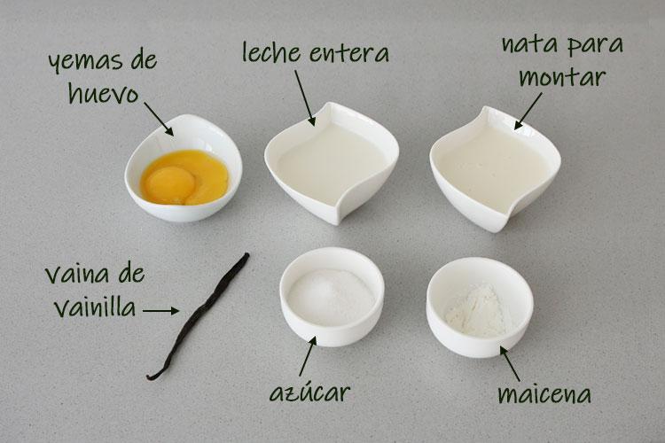 Ingredientes para hacer crema inglesa