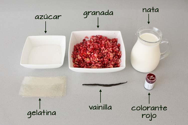 Ingredientes para hacer panna cotta con gelatina de granada