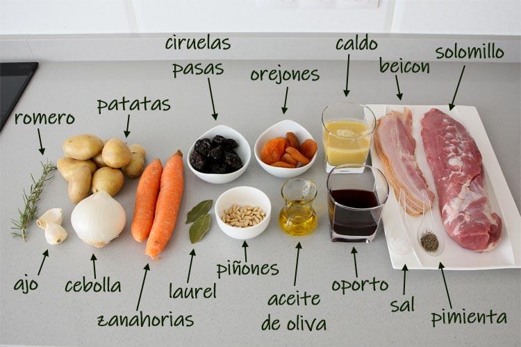 Ingredientes para hacer solomillo relleno