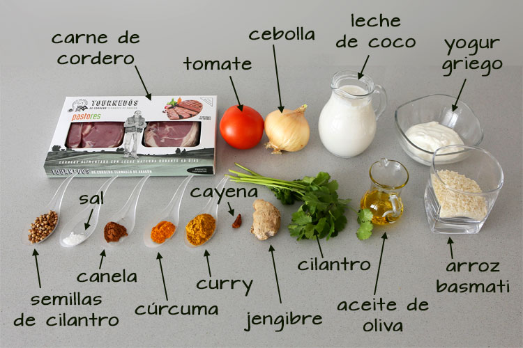 Ingredientes para hacer tournedó con salsa de curry y arroz basmati